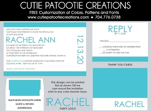 Modern Bat Mitzvah Invitation - Tiffany Blue - Custom Colors Available