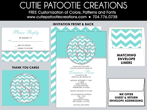 Tiffany Blue and Silver Monogram Bat Mitzvah Invitation - Custom Colors Available