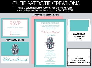 Tiffany Blue and Coral Hamsa Hand Bat Mitzvah Invitations - Custom Colors Available