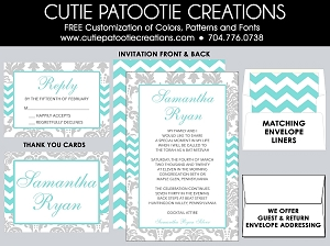 Tiffany Blue Grey Damask Bat Mitzvah Invitations - Custom Colors Available