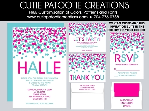 Hot Pink and Tiffany Aqua Blue Confetti Bat Mitzvah Invitations