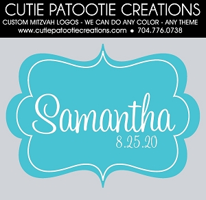 Tiffany Blue and White Monogram Name Mitzvah Logo - Custom Colors Available