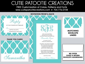 Tiffany Blue Bat Mitzvah Invitation Suite - Custom Colors Available