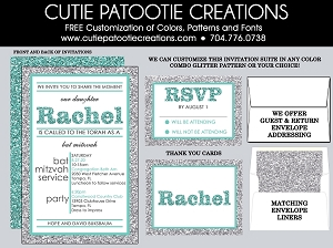 Tiffany Blue and Silver FAUX Glitter Bat Mitzvah Invitations - Custom Colors Available
