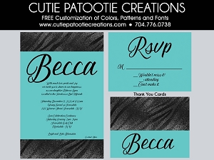 Tiffany Blue and Black Zebra Print Bat Mitzvah Invitations - Custom Colors Available