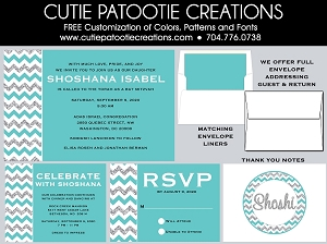 Chevron Bat Mitzvah Invitations - Turquoise, Silver and White - Custom Colors Available