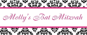 Hot Pink, Black and White Damask Candy Bar Table Sign - Custom Colors Available