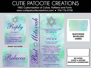 Watercolor Bat Mitzvah Invitations - Teal and Green - Custom Colors Available