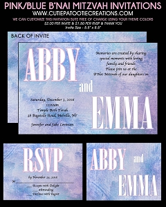 Water Color B'Not Mitzvah Invitations - Custom Colors Available