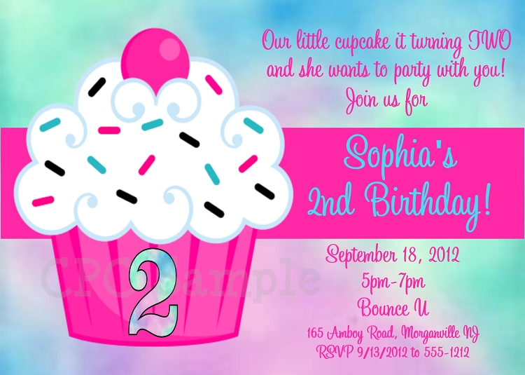 tie dye cupcake birthday party invitation