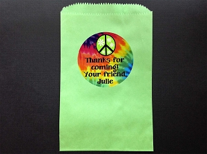 Tie Dye Party Favor Bags and Personalized Stickers