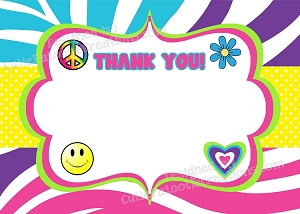Tie Dye Hippie Chick Thank You Notes