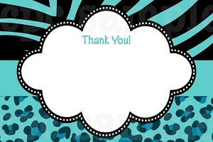 Tiffany Blue Leopard Zebra Print Thank You Cards