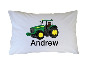 Personalized Green Tractor Pillow Case for Kids, Adults and Toddler