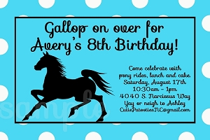 Black Stallion Horse Cowboy Invitations | Western Birthday Party Invitations - Printable or Printed