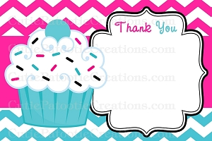 Cupcake Thank You Cards - Pink Turquoise Chevron Print - Printable or Printed