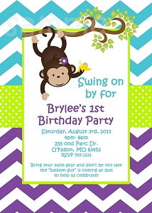 Turquoise Purple Chevron Monkey Birthday Party Invitations | Animal Invitations - Printable or Printed