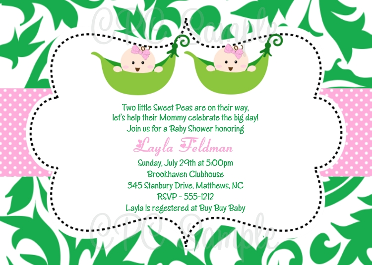 Twin Girls Pea In The Pod Baby Shower Invitations