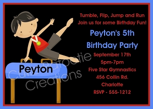 Boys Gymnastics Birthday Party Invitations or Invites - Printable or Printed
