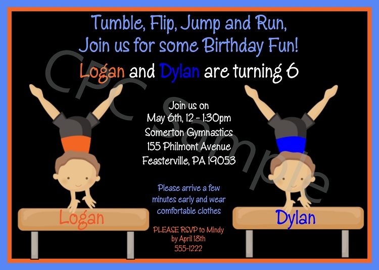 Twin Boys Gymnastics Birthday Party Invitations