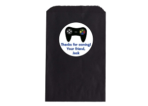 Video Game Remote Control Party Favor Bags and Personalized Stickers