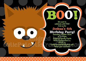 Werewolf Halloween Party Invitations - Printable or Printed