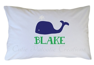 Personalized Preppy Whale Pillow Case for Kids, Adults and Toddler