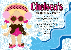 Snowflake Winter Pool Party Invitation