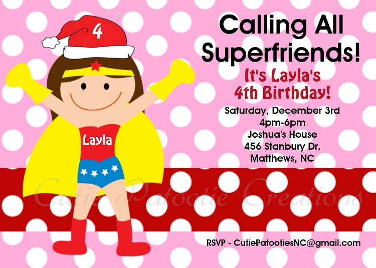 Wonder Woman Christmas Birthday Invitation