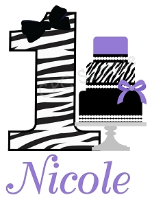 Personalized Zebra Print Birthday Cake T-Shirt or Bodysuit