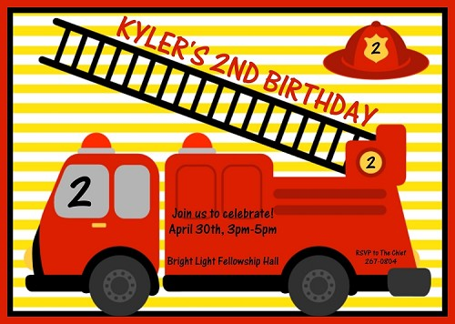 Firetruck Birthday Invitations - Printable or Printed