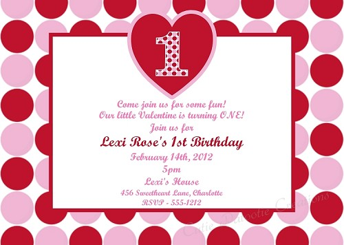 Valentines Day 1st Birthday Invitations