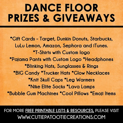 Dance Floor Prizes and Giveaways for Bar and Bat Mitzvahs - FREE Printable Checklist