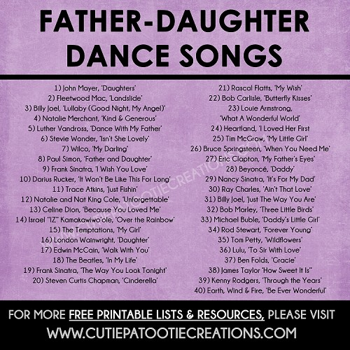 Father Daughter Dance Songs for Mitzvahs and Weddings - Top 40 Songs - FREE Printable List