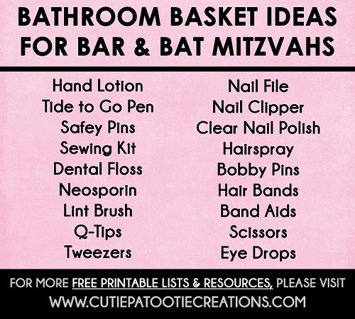 Bathroom Basket Ideas for Bar and Bat Mitzvahs - FREE Printable Checklist