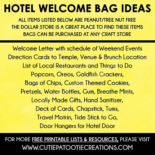Hotel Welcome Bag Ideas for Mitzvahs and Weddings - FREE Printable Checklist