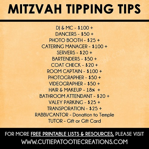 Tipping Tips for Bar and Bat Mitzvahs - FREE Printable Checklist