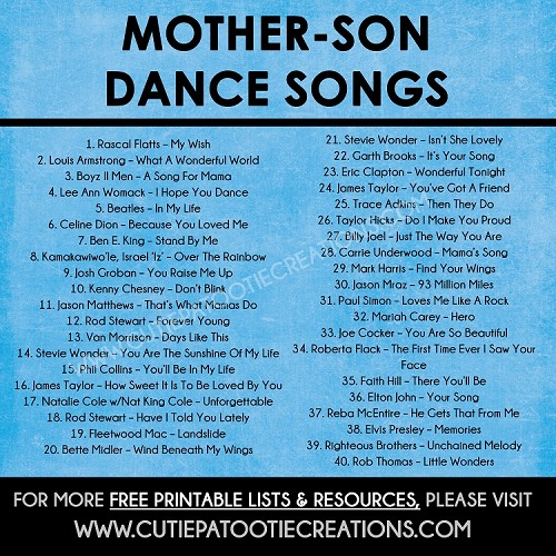 Mother Son Dance Songs for Mitzvahs and Weddings - Top 40 Songs - FREE Printable List