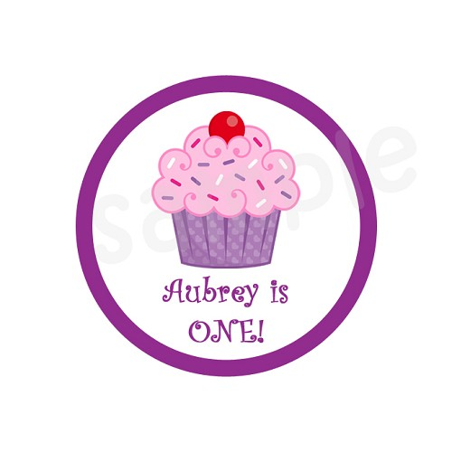 Personalized Cupcake Stickers, Pink and Purple