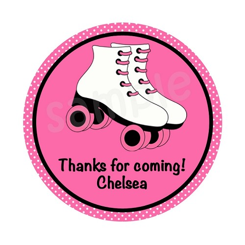 Personalized Roller Skate Stickers, Pink and Black