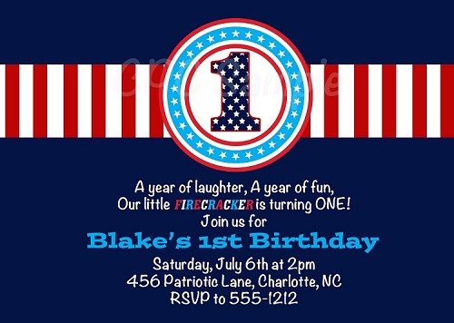 July 4th Birthday Invitations for Boys or Girls