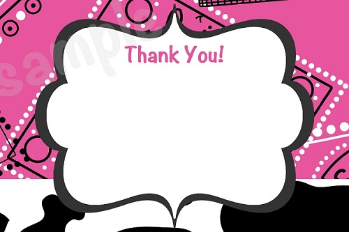 Cowgirl Thank You Cards - Pink Bandana Black White Cow Print