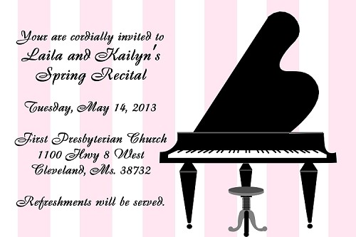 Piano Recital Invitations - Dueling Black Baby Grand Piano Music Invitation - Printable or Printed