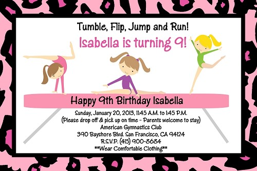 Pink Cheetah Leopard Print Gymnastics Birthday Party Invitations - Printable or Printed