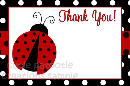 Ladybug Thank You Note Cards - Black and White