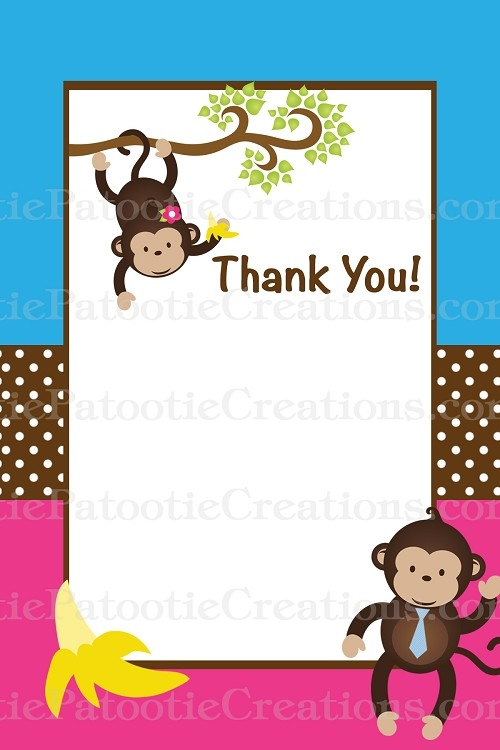 Mod Monkey Thank You Cards - Printable or Printed