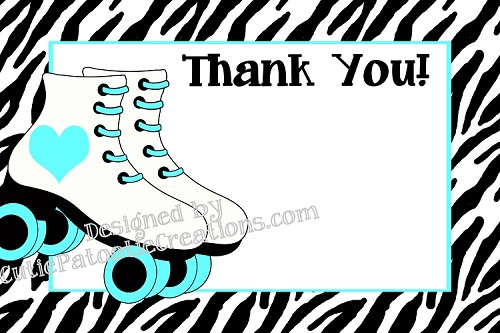 Rollerskating Thank You Cards