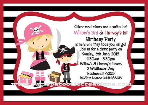 Pirate Birthday Invitations for Twins or Siblings