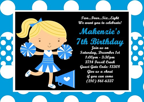 Cheerleader Birthday Party Invitations, Turquoise Blue
