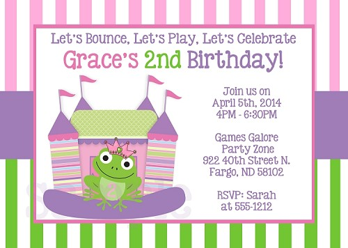 Princess Frog Bounce House Birthday Party Invitations